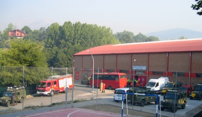 firetrucks & military vehicles at the sports centre