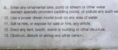 Leamington Spa park bylaws