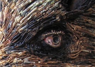 close of up sculpture boar's eye