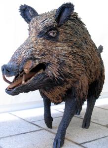 life size wild boar sculpture