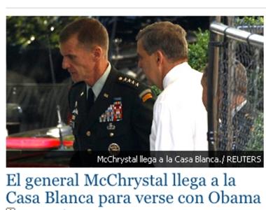 Headline: El general McChrystal llega a la Casa Blanca para verse con Obama