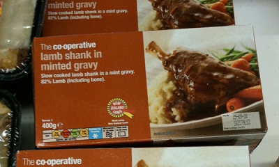 Packaging label: The co-operative lamb shank in minted gravy