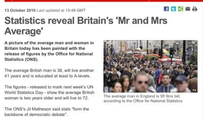 Statistics reveal Britain's 'Mr and Mrs Average'