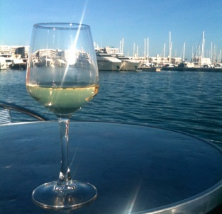 Half empty wine glass with marina backdrop
