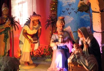 Three kings, nativity scene