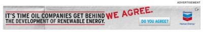 "Advertising slogan: ""It's time oil companies get behind the development of renewable energy"""