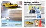 Metro UK digital edition, March 14th, 2011, pages 6 & 7: disastrous news from Japan and Pokémon adverts