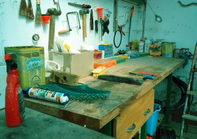 workshop bench and tools