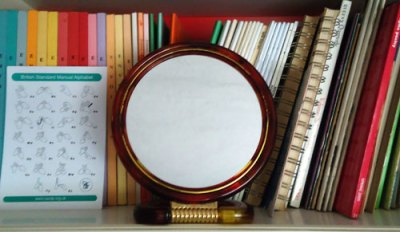 blank mirror with books