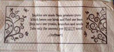coffee #1 napkin