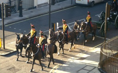 guards and horses in ceremonial uniforms, london