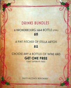 'drinks bundles' menu