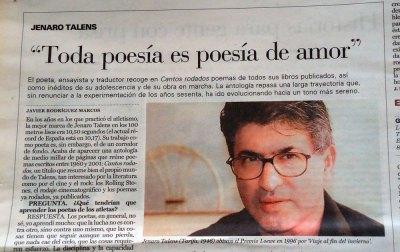 """newspaper article: """"Toda poesía es poesía de amor"""" - Jenaro Talens"""