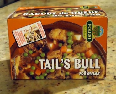 """packaging labelled """"tail's bull stew"""""""