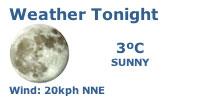 Weather tonight: 3ºC & sunny