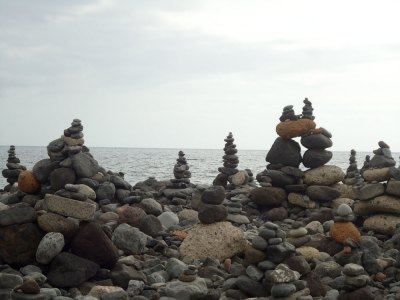 piles of stones, Playa del Duque, Tenerife