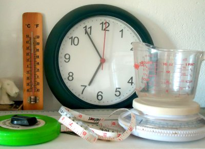 clock, thermometer, tape measure, kitchen scale...