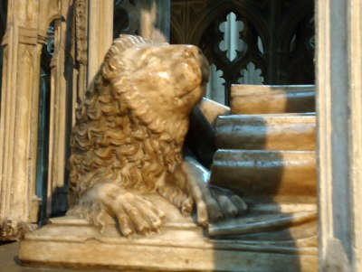 Gloucester Cathedral lion sculpture