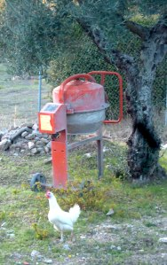 cement mixer & white chicken