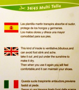 insoles package label. Spanish / English