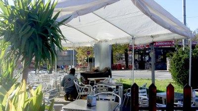 smokers' tent with log stove