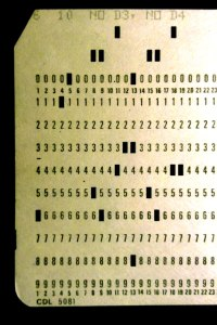 computer punch card close up