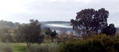 low mist over the village