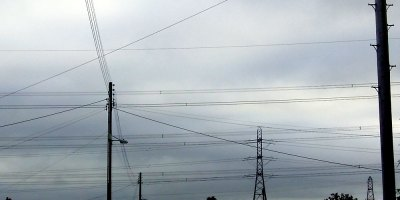 electricity cables against winter sky