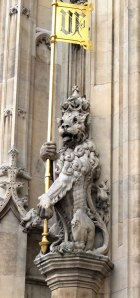 Lion, sovereign's entrance, Houses of Parliament, London