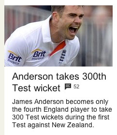 """James Anderson becomes only the fourth England player to take 300 Test wickets during the first Test against New Zealand."""
