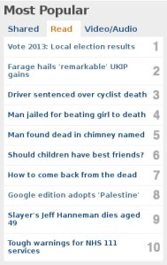 BBC headlines May 3 2013 -  it's all about death
