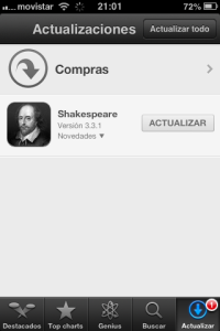 iPhone screen shot - update Shakespeare application