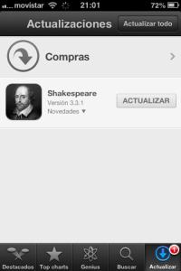 iPhone screen shot - update Shakespeare application