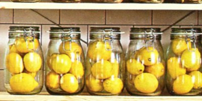 Bottled lemons  on the IKEA catalogue cover