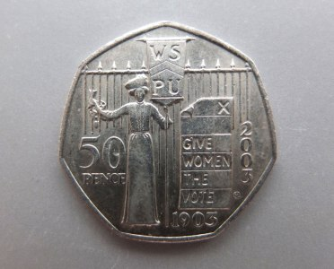 Fifty pence coin sufragette commemorative issue