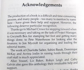 "Warwick MAW Tinderbox anthology acknowledgements -  ""Thanks […] to Gwyneth Box for stamping her foot and getting many things done […]"""