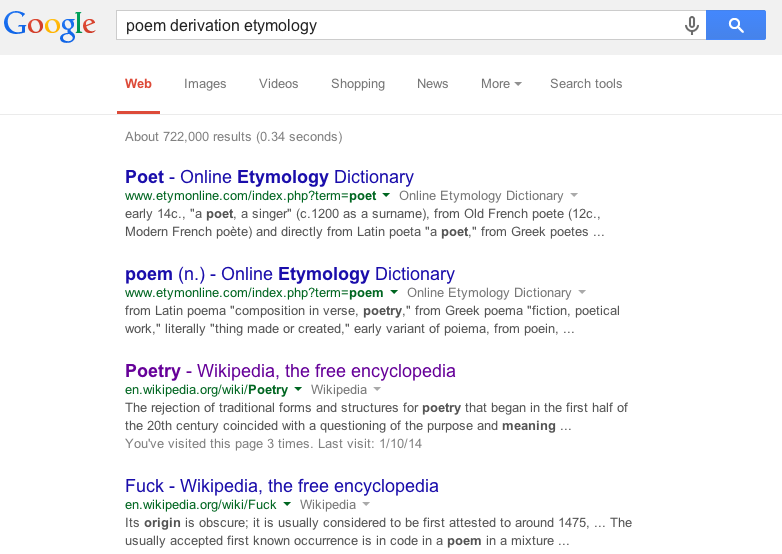 "derivation of word ""poem"". Google results"
