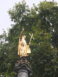 St Paul: golden statue in St Paul's Churchyard, London