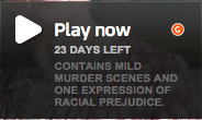 Contains mild murder scenes and one expression of racial prejudice