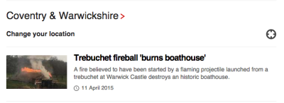 Headline: trebuchet fireball destroys historic boathouse