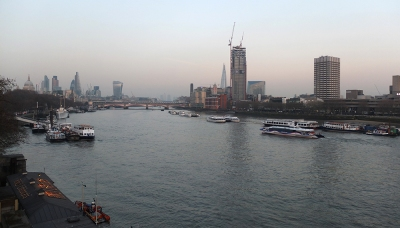 Thames at dusk looking east from Somerset House