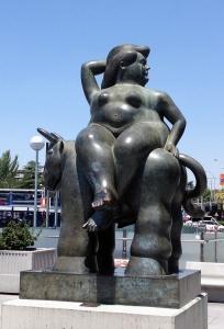 Botero's Rapto de Europa statue; Madrid Airport