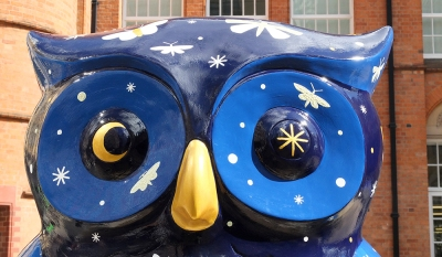 Midnight Moths owl: Birmingham  Big Hoot Art Trail. Artist: Alyn Smith