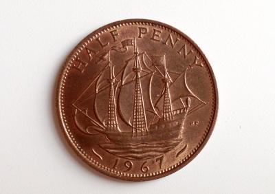 1967 ship ha'penny coin
