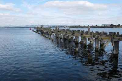 Wooden pier, Firth of Forth, Ocean Terminal, Edinburgh