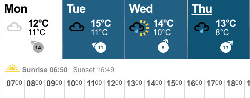 Sunrise and sunset times from BBC weather page
