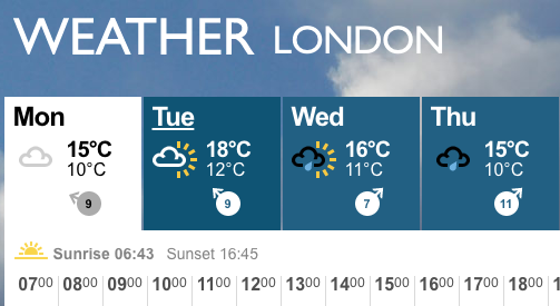 London sunrise and sunset times from BBC weather page