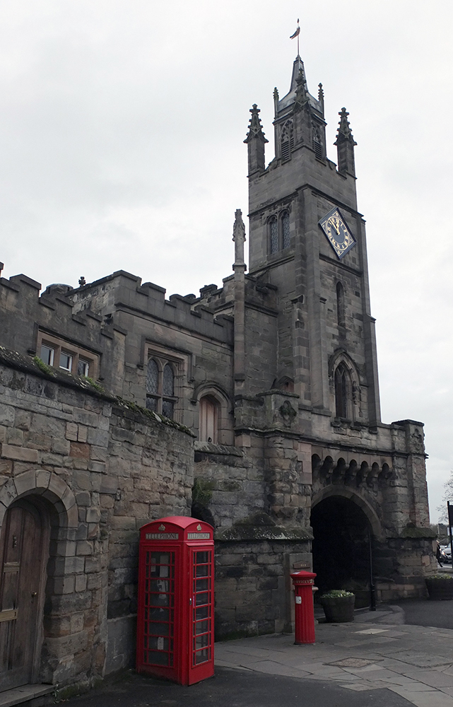 red phone box; old pillar box; tower