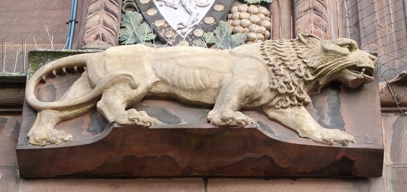 lion relief carving
