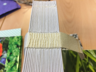 hand stitched book spine; bookbinding